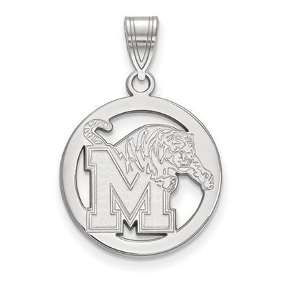 Picture of University of Memphis Tigers Sterling Silver Small Circle Pendant