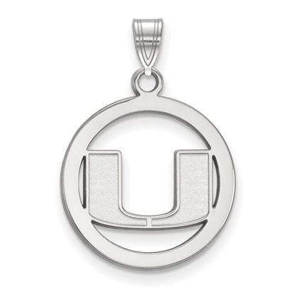 Picture of University of Miami Hurricanes Sterling Silver Small Circle Pendant