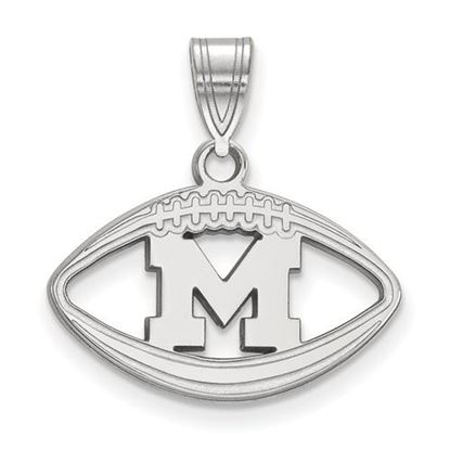 Picture of University of Michigan Wolverines Sterling Silver Football Pendant