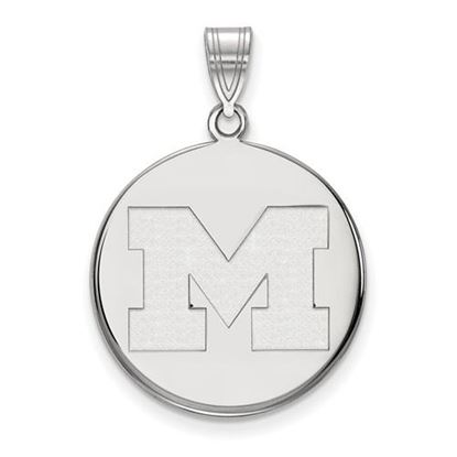 Picture of University of Michigan Wolverines Sterling Silver Large Disc Pendant