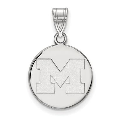 Picture of University of Michigan Wolverines Sterling Silver Medium Disc Pendant