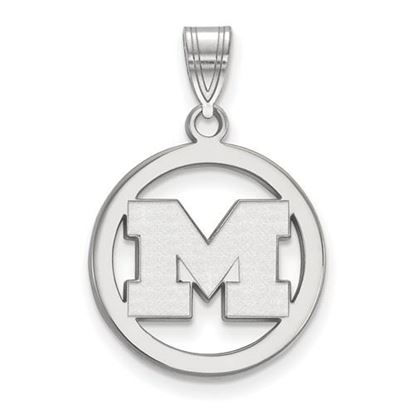 Picture of University of Michigan Wolverines Sterling Silver Small Circle Pendant