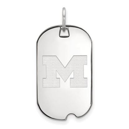 Picture of University of Michigan Wolverines Sterling Silver Small Dog Tag