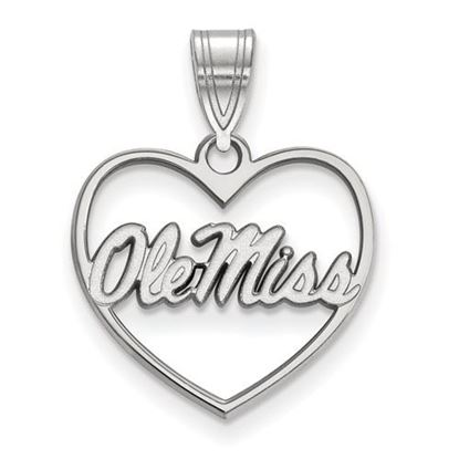 Picture of University of Mississippi Rebels Sterling Silver Heart Pendant