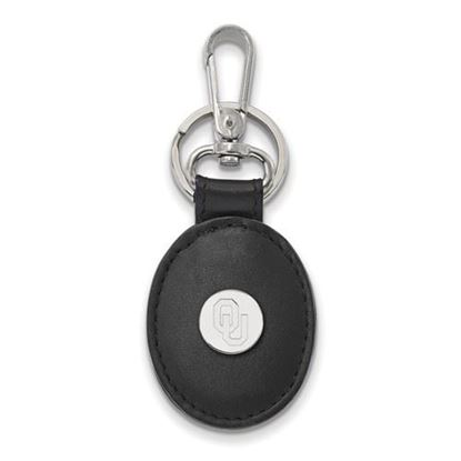 Picture of University of Oklahoma Sooners Sterling Silver Black Leather Oval Key Chain