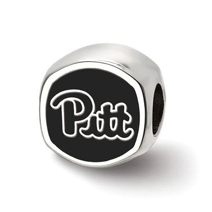 Picture of University of Pittsburgh Panthers Sterling Silver Cushion Shaped Double Logo Bead