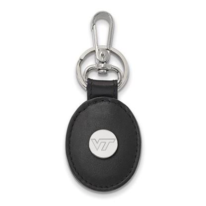 Picture of Virginia Tech Hokies Sterling Silver Black Leather Oval Key Chain