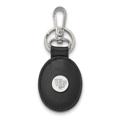 Picture of Wake Forest University Demon Deacons Sterling Silver Black Leather Oval Key Chain