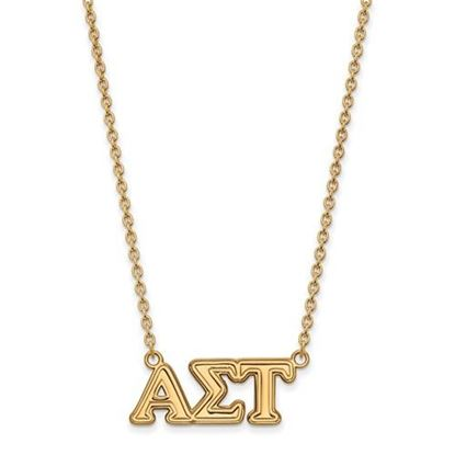 Picture of Alpha Sigma Tau Sorority Sterling Silver Gold Plated Medium Pendant Necklace