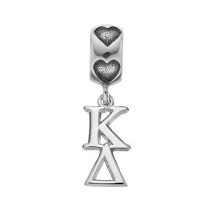 Picture of Kappa Delta Sorority Sterling Silver Vertical Letters On Heart Bead