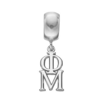 Picture of Phi Mu Sorority Sterling Silver Vertical Letters On Plain Bead