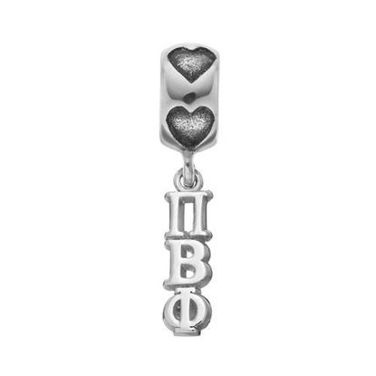 Picture of Pi Beta Phi Sorority Sterling Silver Vertical Letters On Plain On Heart Bead