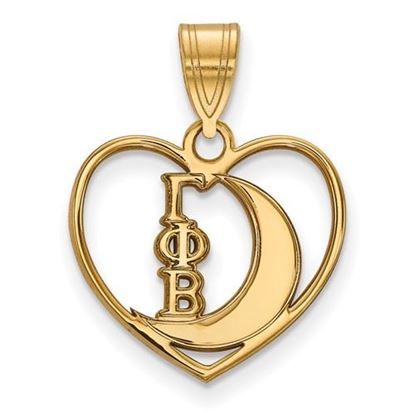 Picture of Gamma Phi Beta Sorority Gold Plated Crescent Moon Heart Pendant