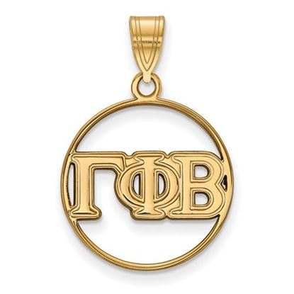Picture of Gamma Phi Beta Sorority Sterling Silver Gold Plated Medium Circle Pendant