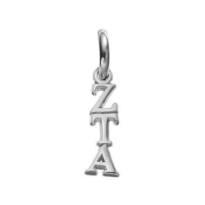 Picture of Zeta Tau Alpha Sorority Sterling Silver Vertical Letters Pendant