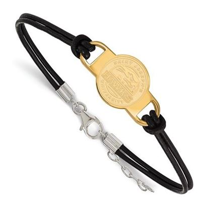 Picture of St. Joseph's University Hawks Sterling Silver Gold Plated Leather Bracelet