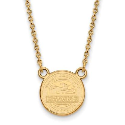 Picture of St. Joseph's University Hawks Sterling Silver Gold Plated Small Necklace