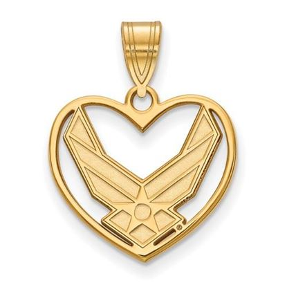 Picture of U.S. Air Force Academy Falcons Sterling Silver Gold Plated Heart Pendant