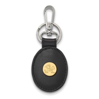 Picture of University of Notre Dame Fighting Irish Sterling Silver Gold Plated Leather Key Chain