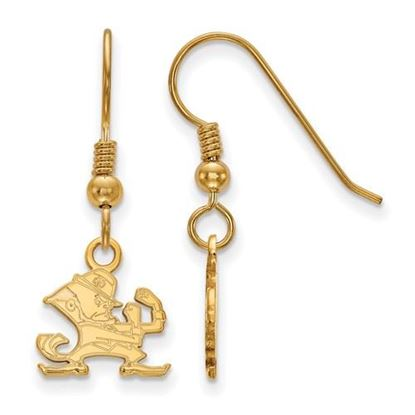 Picture of University of Notre Dame Fighting Irish Sterling Silver Gold Plated Extra Small Dangle Wire Earrings
