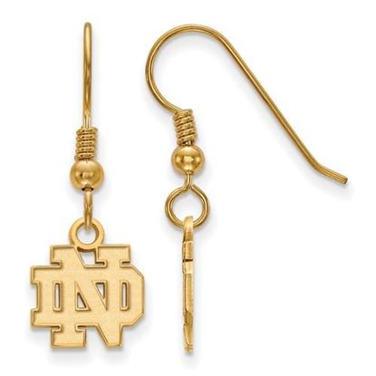 Picture of University of Notre Dame Fighting Irish Sterling Silver Gold Plated Extra Small Wire Dangle Earrings