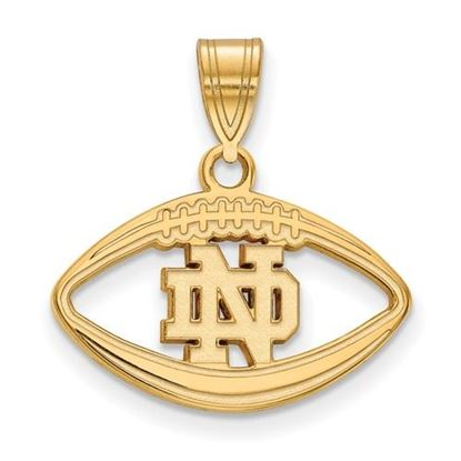 Picture of University of Notre Dame Fighting Irish Sterling Silver Gold Plated Football Pendant
