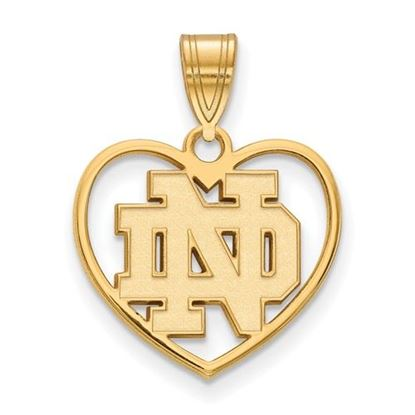 Picture of University of Notre Dame Fighting Irish Sterling Silver Gold Plated Heart Pendant