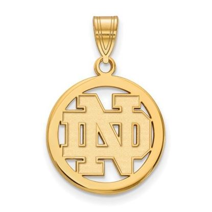 Picture of University of Notre Dame Fighting Irish Sterling Silver Gold Plated Small Circle Pendant