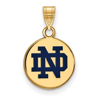 Picture of University of Notre Dame Fighting Irish Sterling Silver Gold Plated Small Enamel Disc Pendant