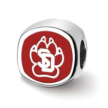 Picture of University of South Dakota Coyotes Sterling Silver Enameled Paw Bead
