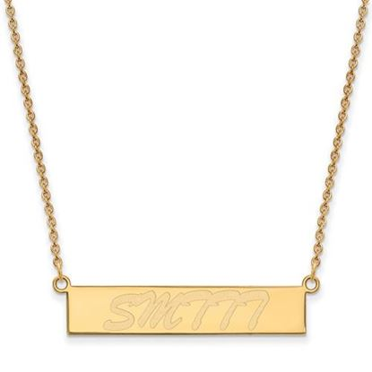 Picture of University of Southern Mississippi Golden Eagles Sterling Silver Gold Plated Small Bar Necklace