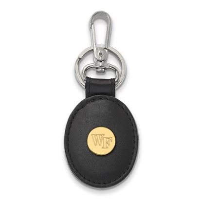 Picture of Wake Forest University Demon Deacons Sterling Silver Gold Plated Leather Key Chain