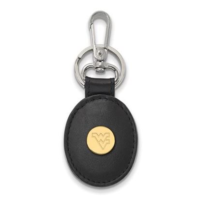 Picture of West Virginia University Mountaineers Sterling Silver Gold Plated Leather Key Chain