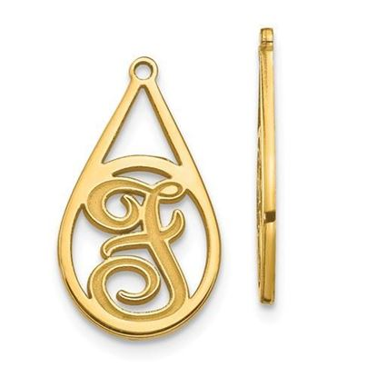Personalized 14k Yellow Gold Epoxied Small Letter Earring Jackets