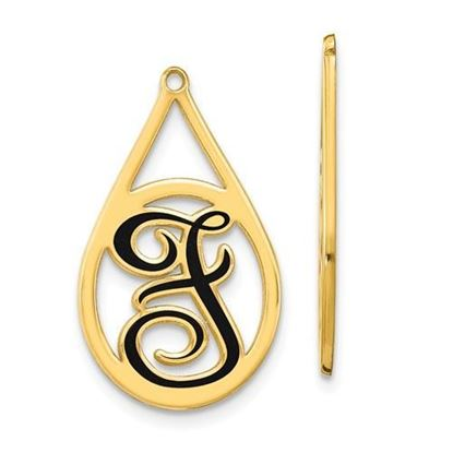 Personalized Gold Plated Epoxied Large Letter Earring Jackets