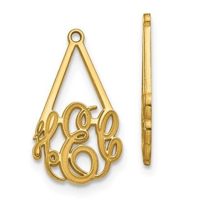 Personalized 14k Yellow Gold Epoxied Small Monogram Earring Jackets