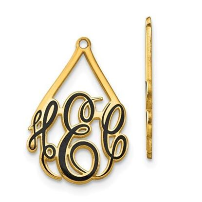 Personalized Gold Plated Epoxied Large Monogram Earring Jackets