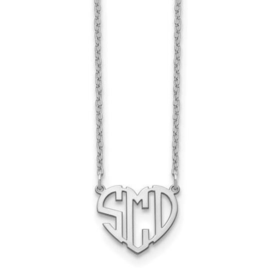 Personalized Sterling Silver Heart Cutout Monogram Necklace
